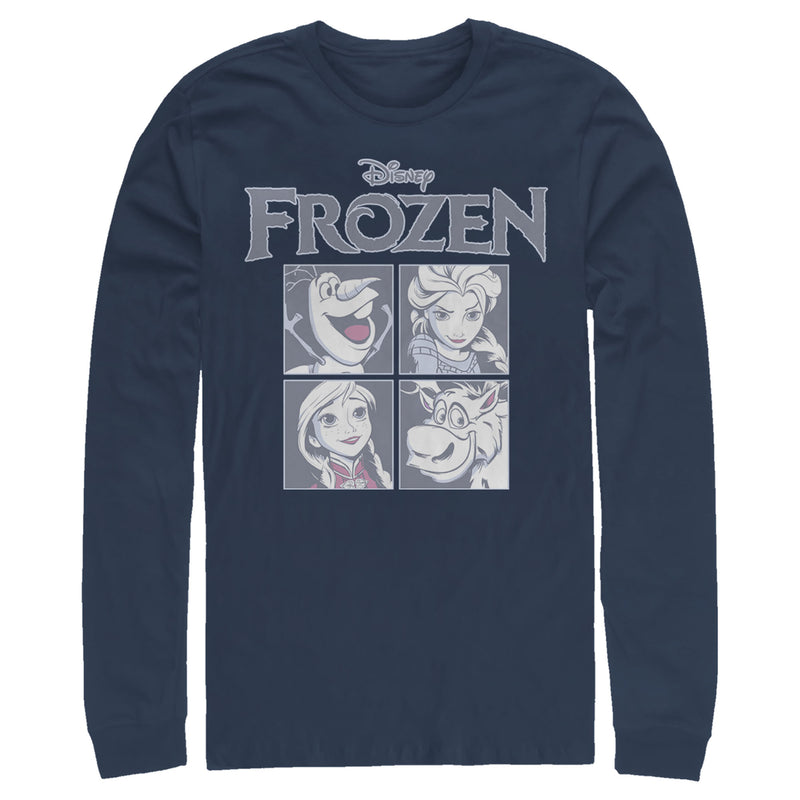 Frozen Men's Character Squares  Long Sleeve Shirt  Navy Blue  L