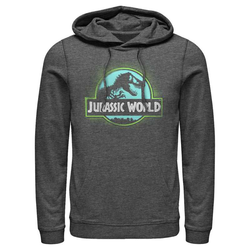 Jurassic World Men's T. Rex Spray Paint Logo  Pull Over Hoodie  Charcoal Heather  S