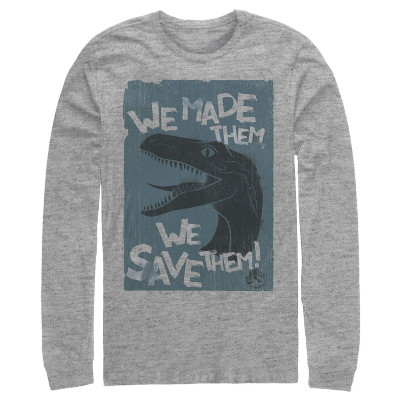 Jurassic World Men's We Made Them We Save Them  Long Sleeve Shirt  Athletic Heather  S