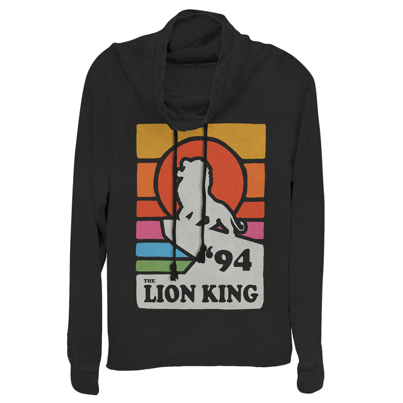 Lion King Retro Rainbow '94 Silhouette Juniors Graphic Cowl Neck Sweatshirt