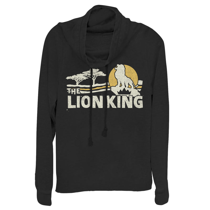 Lion King Vintage Pride Lands Juniors Graphic Cowl Neck Sweatshirt