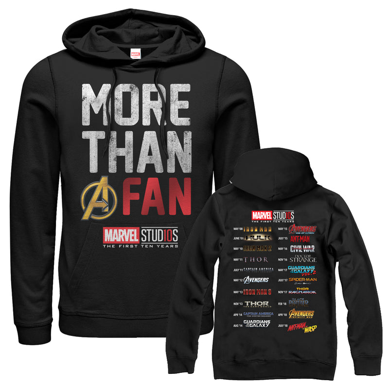 Marvel Men's 10th Anniversary More Than a Fan  Pull Over Hoodie  Black  2XL