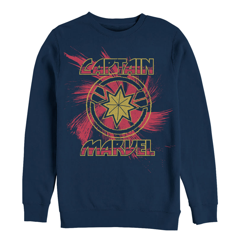 Marvel Men's Captain Marvel Star Symbol Swirl  Sweatshirt