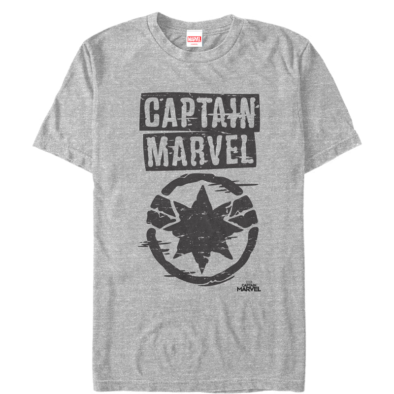 Marvel Captain Marvel Grayscale Star Symbol Mens Graphic T Shirt