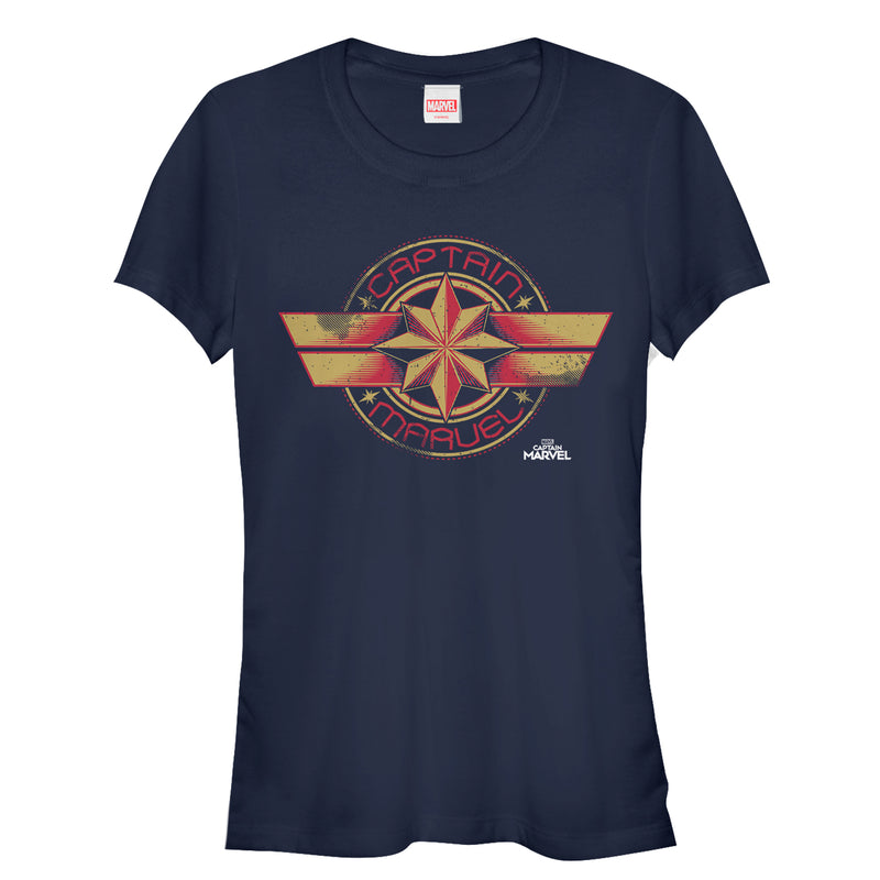 Marvel Junior's Captain Marvel Retro Star Emblem  T-Shirt  Navy Blue  XL