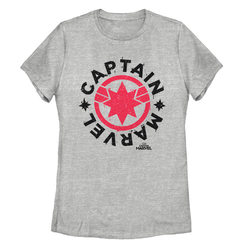 Marvel Women's Captain Marvel Star Symbol Circle  T-Shirt  Athletic Heather  2XL