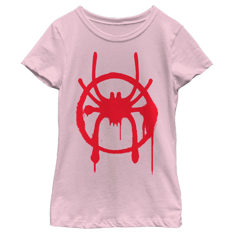 Marvel Girl's Spider-Man: Into the Spider-Verse Symbol  T-Shirt  Light Pink  S