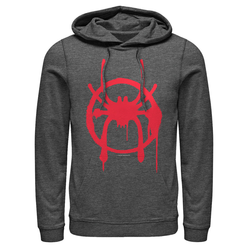 Marvel Men's Spider-Man: Into the Spider-Verse Symbol  Pull Over Hoodie  Charcoal Heather  L