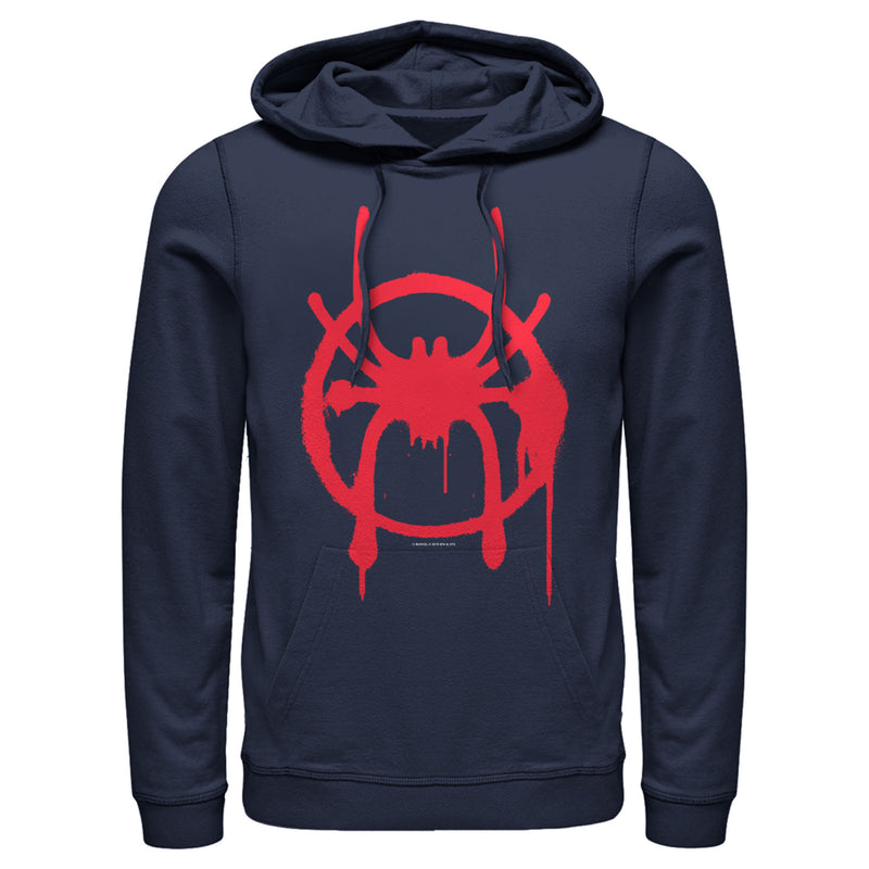 Marvel Men's Spider-Man: Into the Spider-Verse Symbol  Pull Over Hoodie  Navy Blue  L