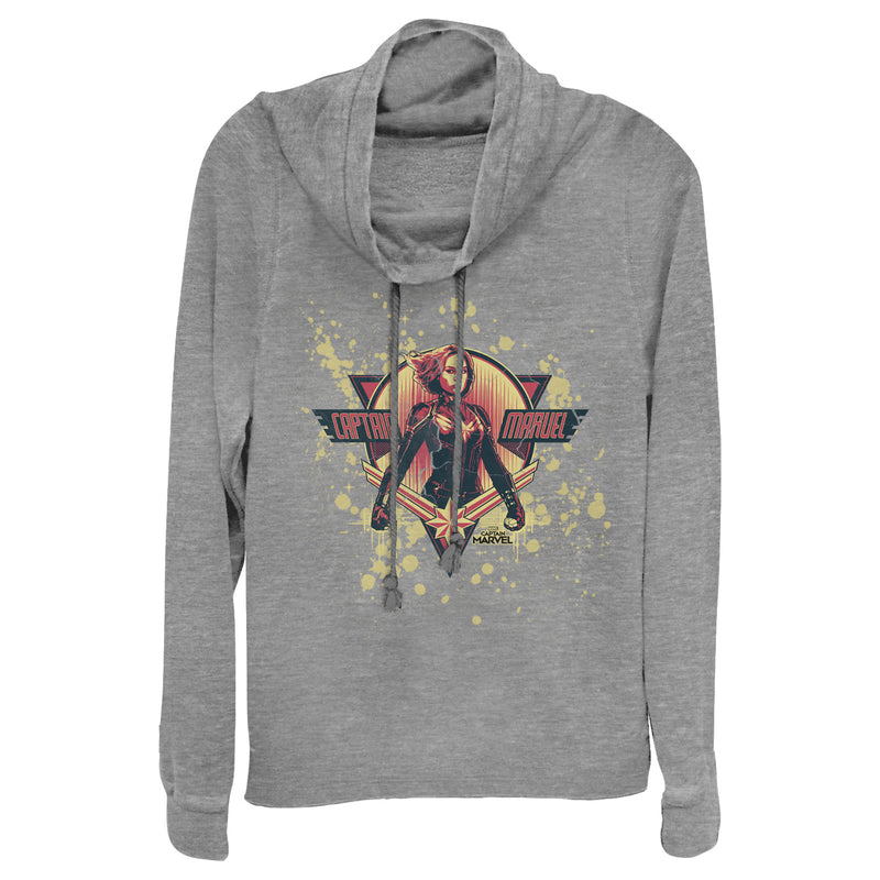Marvel Captain Marvel Paint Splatter Hero Juniors Graphic Cowl Neck Sweatshirt