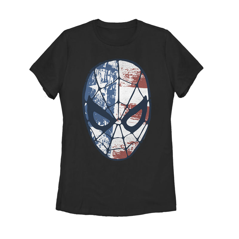 Marvel 4th of July Spider-Man American Flag Mask Womens Graphic T Shirt