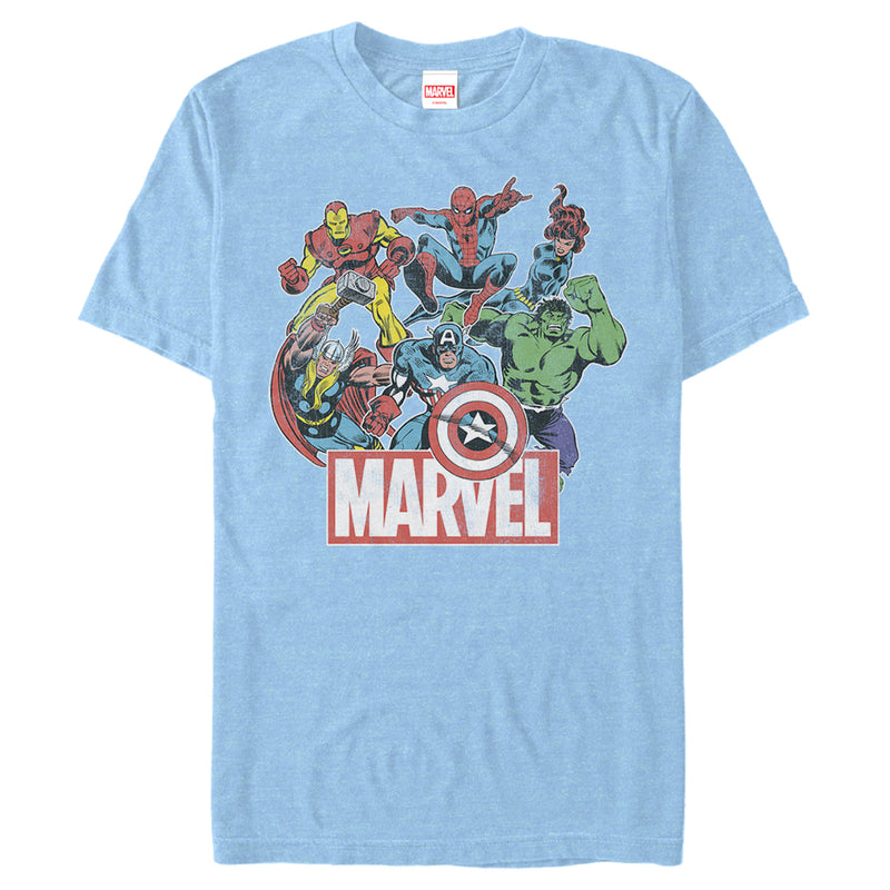 Marvel Men's Classic Hero Collage  T-Shirt  Light Blue Heather  M