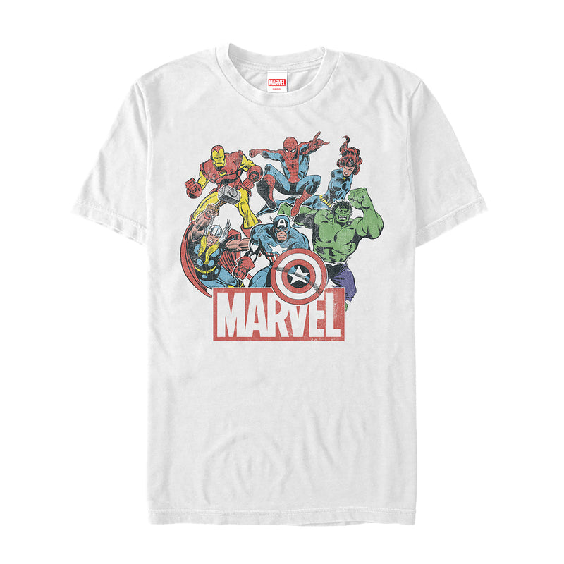 Marvel Men's Classic Hero Collage  T-Shirt  White  2XL