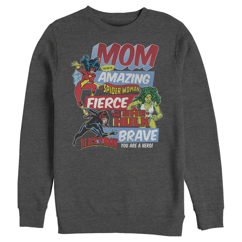 Marvel Men's Retro Heroic Mom  Sweatshirt  Charcoal Heather  M
