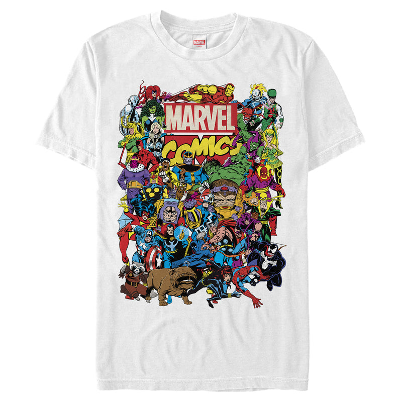 Marvel Men's Hero Epic Collage  T-Shirt  White  L