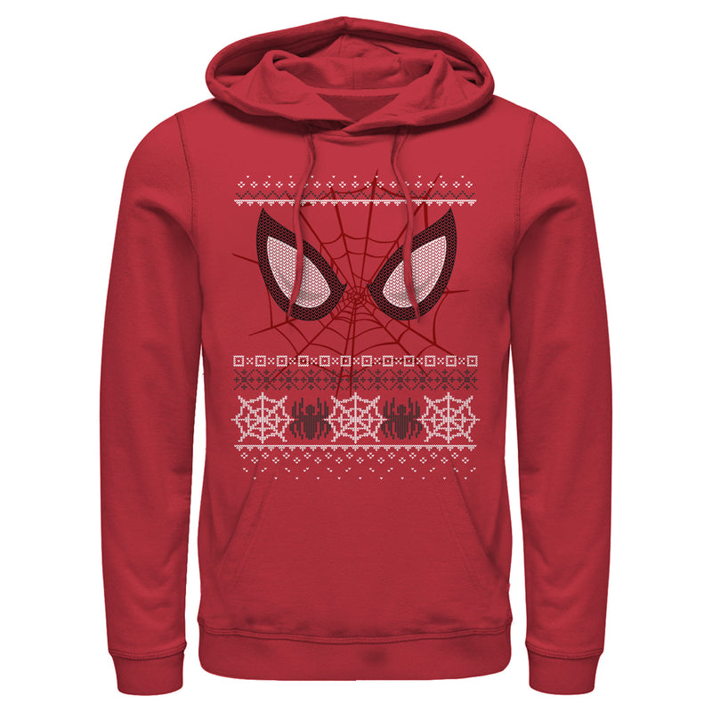 Marvel Men's Ugly Christmas Spider-Man Mask  Pull Over Hoodie  Red  XL