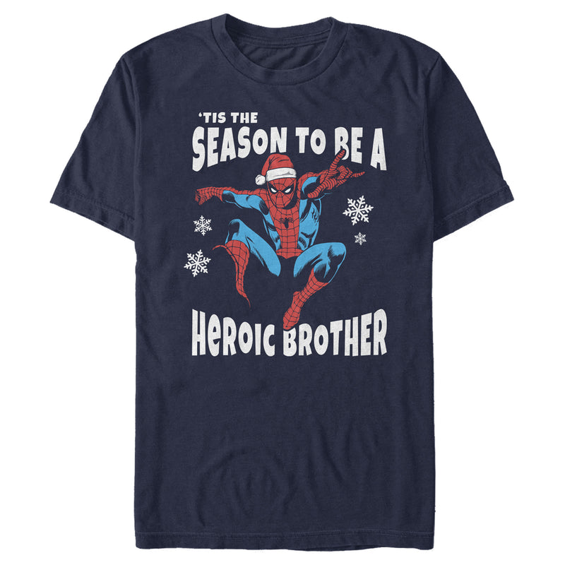 Marvel Men's Christmas Spider-Man Heroic Brother  T-Shirt  Navy Blue  2XL