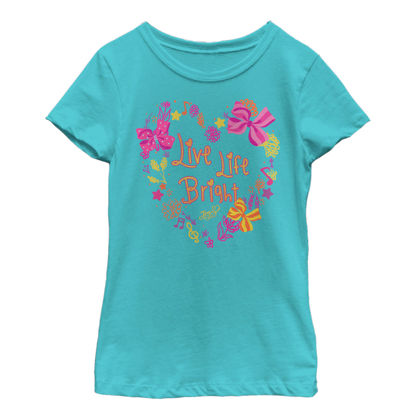 Jojo Siwa Girl's Live Life Bright Heart  T-Shirt  Tahiti Blue  M