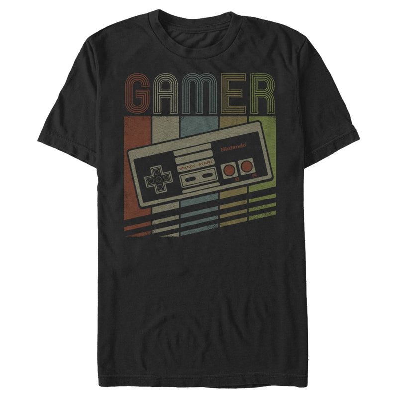 Nintendo Men's Retro NES Gamer Controller  T-Shirt  Black  2XL