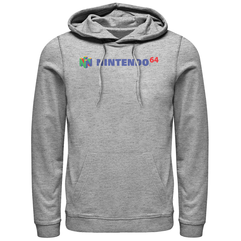 Nintendo Classic N64 Logo Text Mens Graphic Lightweight Hoodie