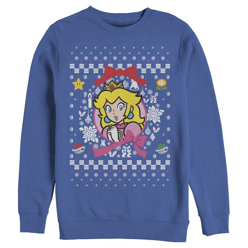 Nintendo Peach Wreath Ugly Christmas Sweater Mens Graphic Sweatshirt
