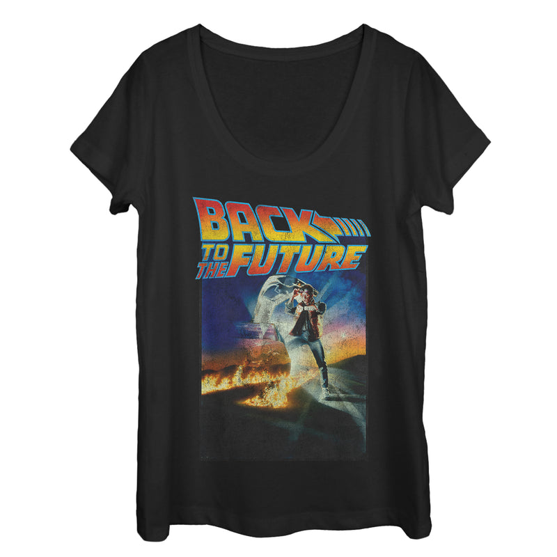 Back to the Future Retro Marty McFly Poster Womens Graphic Scoop Neck