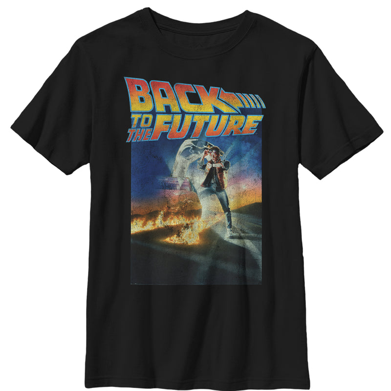 Back to the Future Boy's Retro Marty McFly Poster  T-Shirt  Black  XL