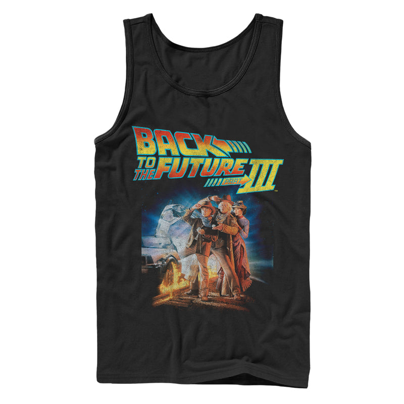 Back to the Future Men's Part 3 Character Pose  Tank Top  Black  XL