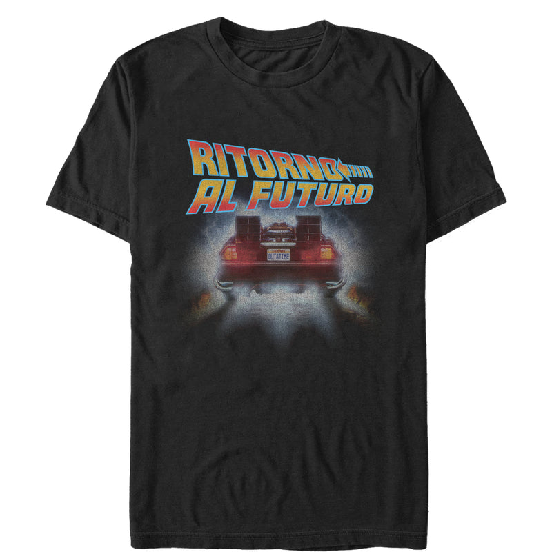 Back to the Future Men's Italian Poster  T-Shirt  Black  4XL