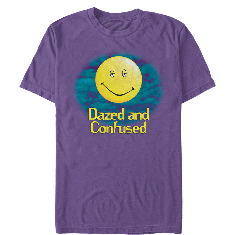 Dazed and Confused Men's Cloudy Big Smiley Logo  T Shirt Purple 2XL