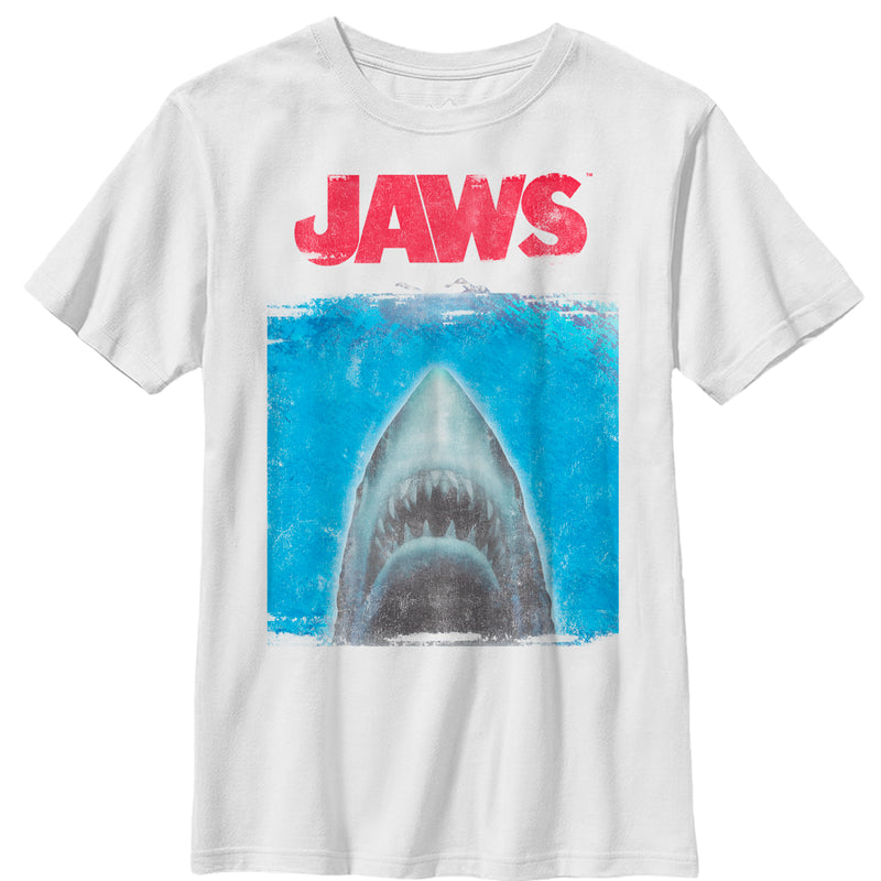 Jaws Boy's Shark Movie Poster  T-Shirt  White  XL