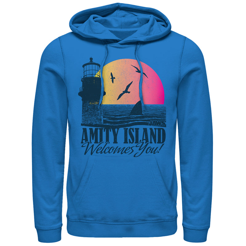 Jaws Men's Amity Island Tourist Welcome  Pull Over Hoodie  Royal Blue  3XL