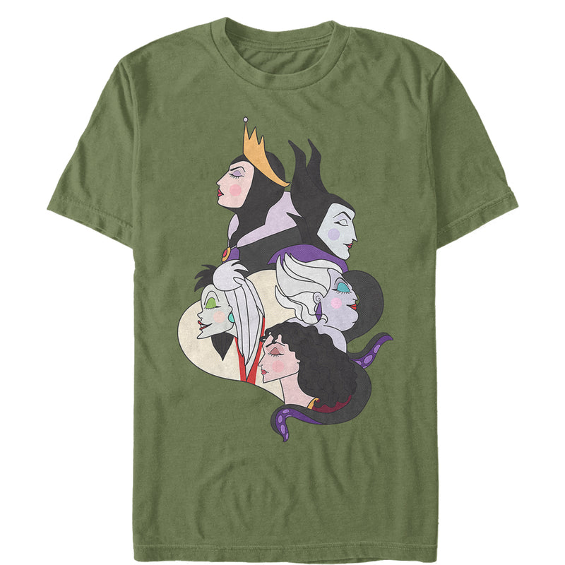 Disney Princesses Men's Wicked Witch Profiles  T-Shirt  Military Green  3XL