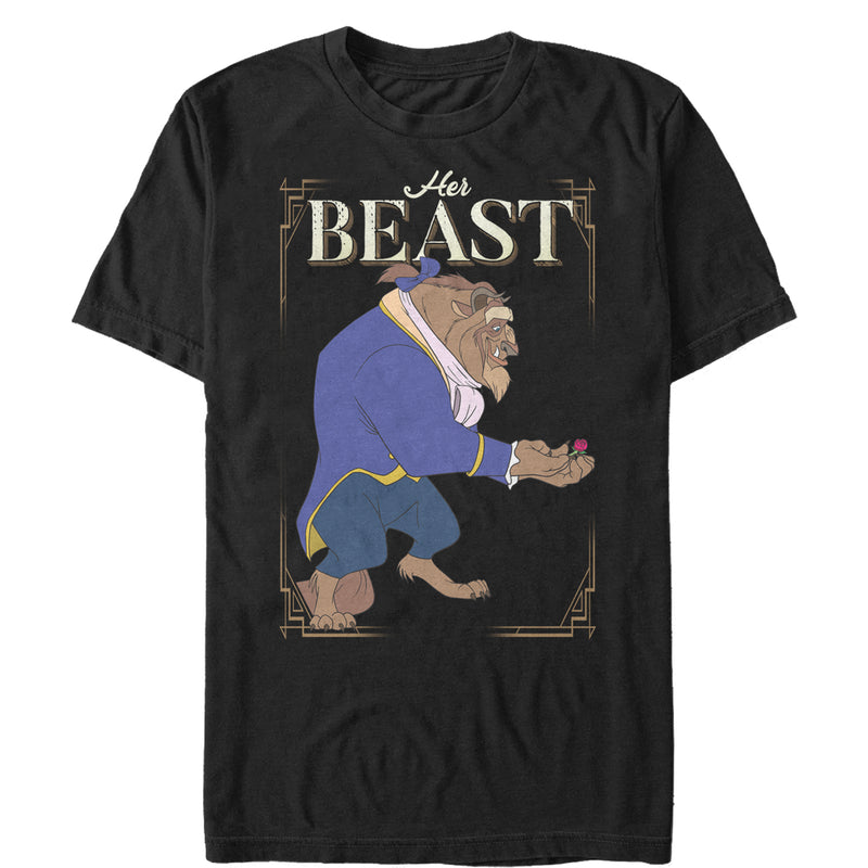 Beauty and the Beast Men's Her Beast  T-Shirt  Black  2XL