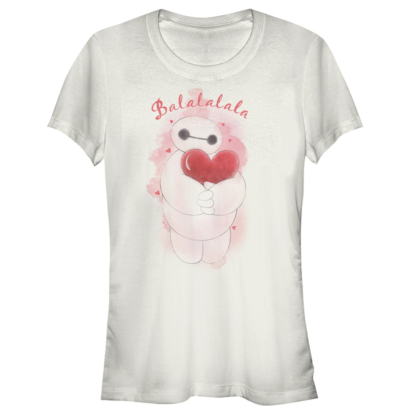 Big Hero 6 Junior's Valentine Baymax Heart Hug  T-Shirt  White  M