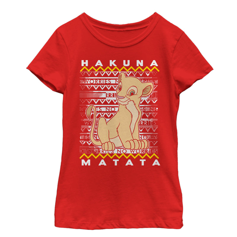 Lion King Girl's Nala Diagonal Stripe  T-Shirt  Red  M