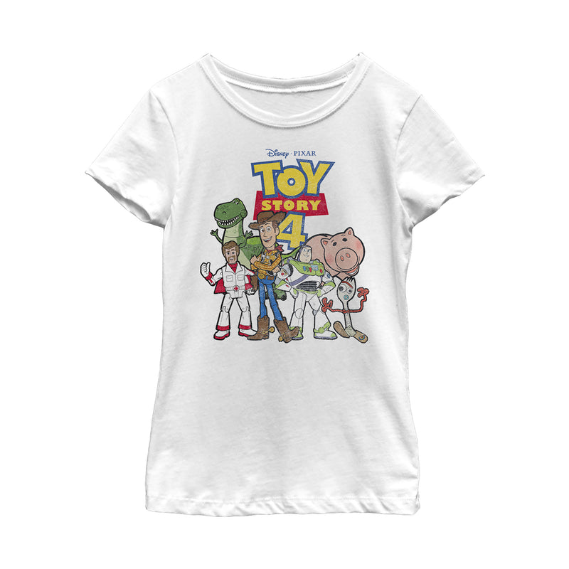 Toy Story Girl's Character Logo Party  T-Shirt  White  M