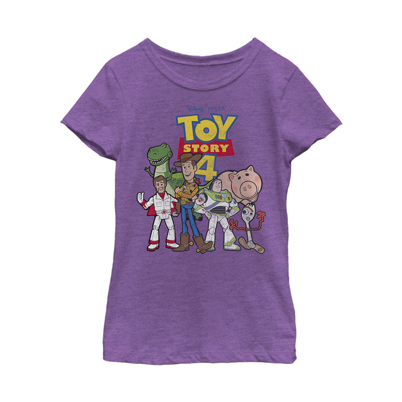 Toy Story Girl's Character Logo Party  T-Shirt  Purple Berry  XS
