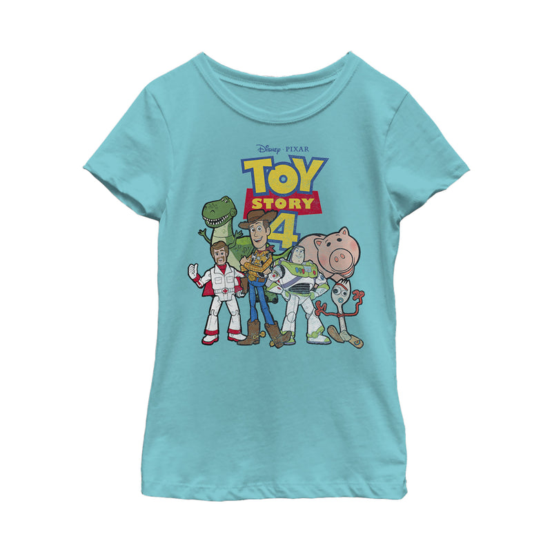 Toy Story Girl's Character Logo Party  T-Shirt  Tahiti Blue  XS