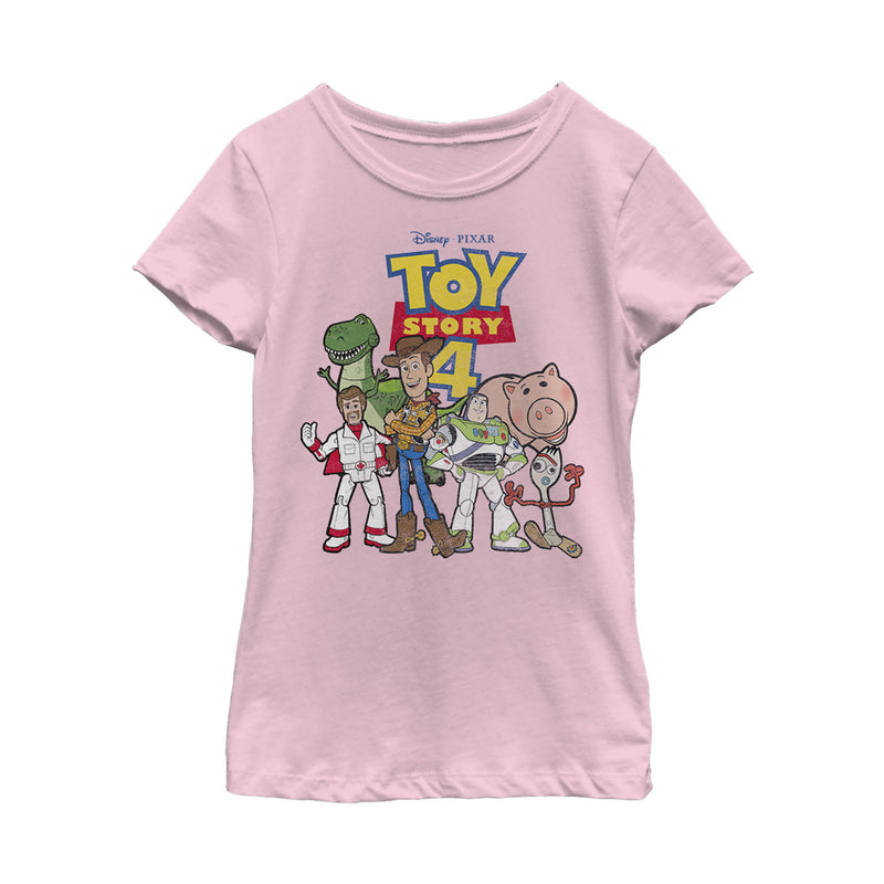 Toy Story Girl's Character Logo Party  T-Shirt  Light Pink  L