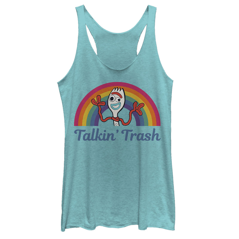 Toy Story Women's Forky Talkin' Trash Rainbow  Racerback Tank Top