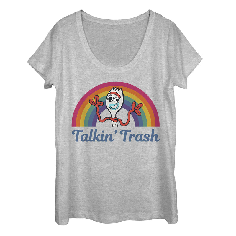 Toy Story Women's Forky Talkin' Trash Rainbow  Scoop Neck  Athletic Heather  2XL