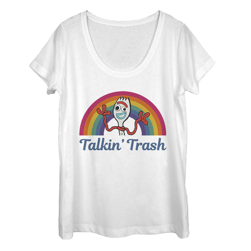 Toy Story Women's Forky Talkin' Trash Rainbow  Scoop Neck  White  M