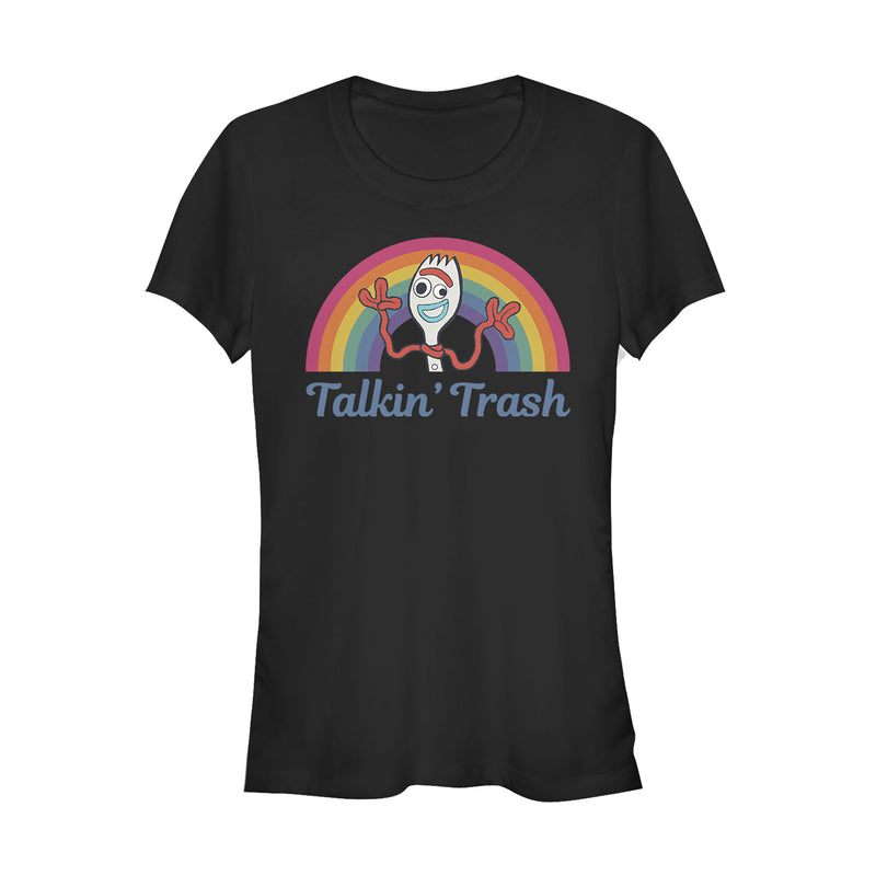 Toy Story 4 Forky Talkin' Trash Rainbow Juniors Graphic T Shirt