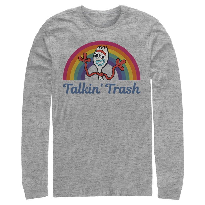 Toy Story 4 Forky Talkin' Trash Rainbow Mens Graphic Long Sleeve Shirt