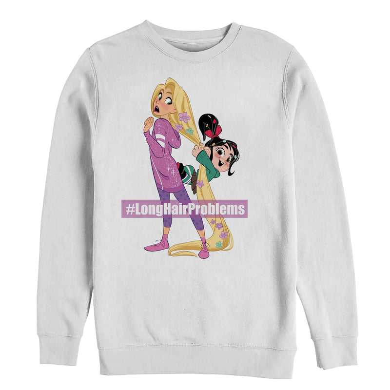 Ralph Breaks the Internet Men's Rapunzel Hair  Sweatshirt  White  XL