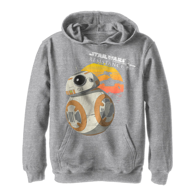 Star Wars Resistance Boy's BB-8 Sunset  Pull Over Hoodie  Athletic Heather  L