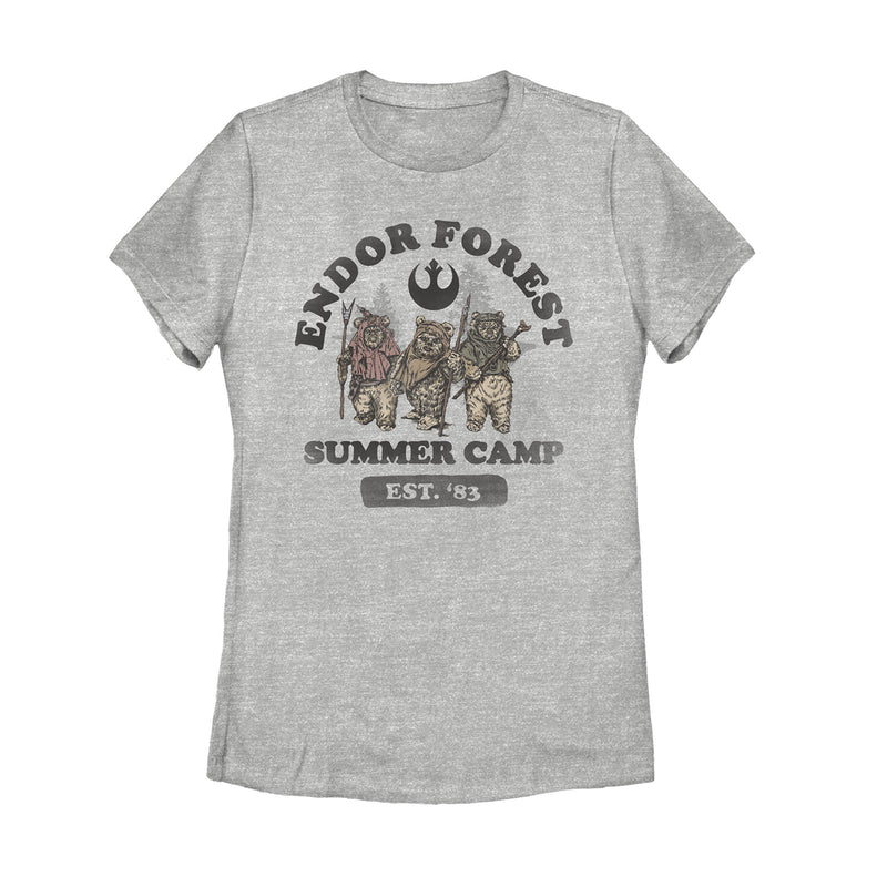 Star Wars Women's Forest of Endor Summer Camp '83  T-Shirt  Athletic Heather  XL