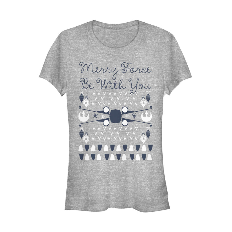 Star Wars Christmas Force Be With You Juniors Graphic T Shirt