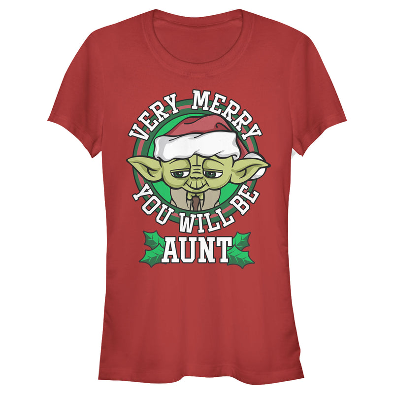 Star Wars Junior's Christmas Yoda Very Merry Aunt  T-Shirt  Red  L